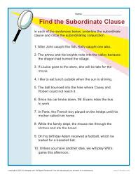 find the subordinate clause sentence structure worksheets