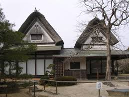 modern japanese houses with unique dried tree in facade design of