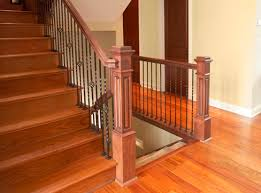Metal Banister Rail Cherry Routed Mission Style Routed Panel Box Newels By Fitts