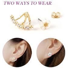 gold stud earrings for women ustar flower crystals stud earrings for women gold color