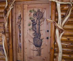Carved Exterior Doors Carved Painted Door With Bears Climbing Woodland Creek