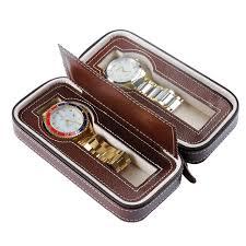 travel watch images Professiona 2 grids watch boxe pu leather wrist watch box display jpg