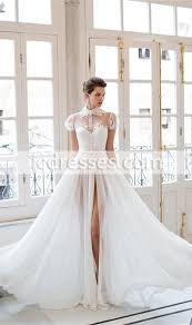cool wedding dresses cool chiffon lace split wedding dresses high collar sleeves