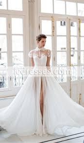 cool dresses cool chiffon lace split wedding dresses high collar sleeves