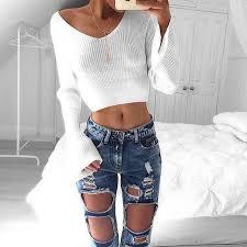 crop top sweater white sleeve crop top sweater meetyoursfashion