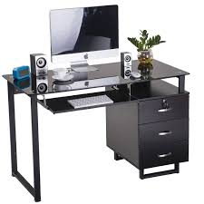 Office Desk With Keyboard Tray Merax Large Glass Computer Desk Office Desk With Keyboard Tray And