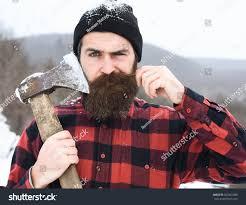 frown man brutal lumberjack bearded hipster stock photo 560361988