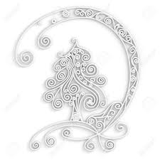 ornamental design of tree in white color 3d quilling