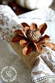 thanksgiving napkin rings craft pinecone and acorn flower napkin rings