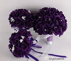 silk wedding flower packages 3 bouquet 4 boutonnieres purple bouquet wedding