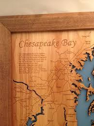 Virginia Beach Usa Map by Chesapeake Bay Virginia Maryland Wood Laser Cut Map