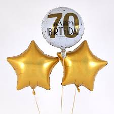 inflated helium balloons delivered 70th happy birthday gold balloon bouquet inflated free