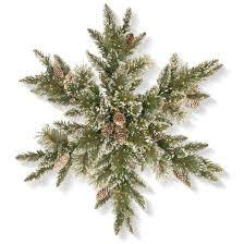 30 glittery bristle pine snowflake with led infinity lights