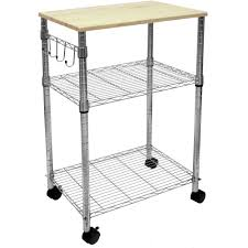 3 tier portable rolling kitchen island cart cutting board table