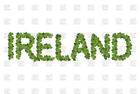 ireland lettering with clover irish shamrock vector clipart image