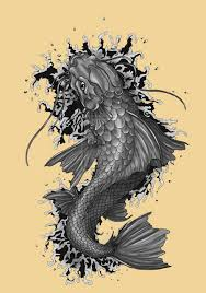 awesome grey koi coy fish tattoo design sketch tattoomagz