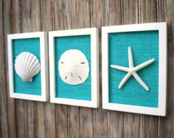 Shell Home Decor Cottage Chic Set Of Beach Decor Wall Art Sea Shell Home