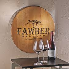 authentic barrel head wall plaque with personalized wine theme