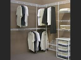 Closetmaid White Minimalist Dressing Room With Pale Brown Painted Walls And White