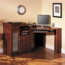 modern computer desks ideas with brown wooden corner computer desk with keyboard drawer and hutch