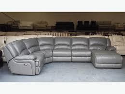 Corner Sofa Chaise Living Room Elegant Ronson Dark Grey Leather Electric Recliner