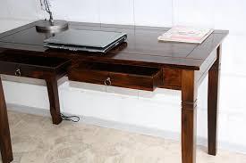 Echtholz Schreibtisch Casa Schreibtisch Braun Nussbaum Pappel Massiv Kolonial Lackiert