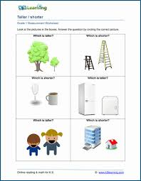 1st grade measurement worksheets free and printable k5 learning