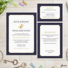 navy and gold wedding invitation dark blue and gold foil
