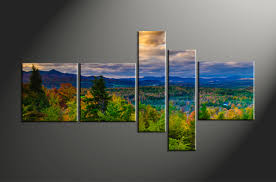 5 piece green canvas landscape nature artwork
