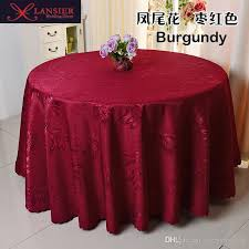 banquet table linens wholesale high quality polyester red ivory purple wedding table cloth round