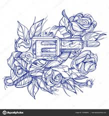 gun and roses tattoo hand drawing style picture for coloring