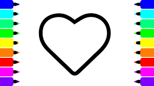 how to draw love heart art coloring sheets for kids youtube