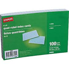 staples index cards 4 x 6 graph ruled white each 496092