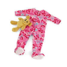 teddy clothes 18 inch doll clothes one footed pink with hearts pajamas