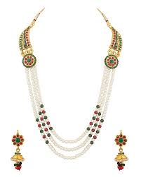 amazon com 4 75 carats buy voylla metal necklace set for women online at low prices in