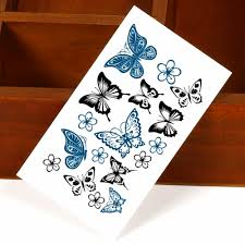 25 style mini temporary black butterfly designs