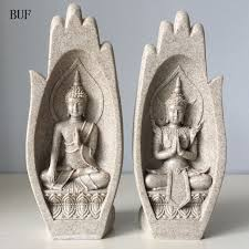 home sculptures 2pcs small buddha statue monk figurine tathagata india yoga mandala