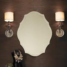 beveled shield shaped frameless mirror shades of light