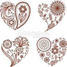 henna tattoo ornamental hearts mehndi style vector art thinkstock