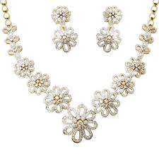 gold har set floral design gold diamond necklace set at rs 486000 sone