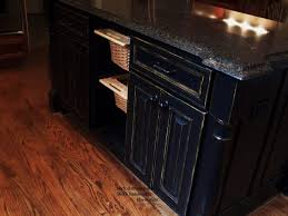 black distressed kitchen island glazed cabinets faux finshed cabinetry painted kitchen cabinets