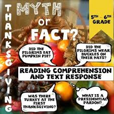 thanksgiving myth or fact reading comprehension reading