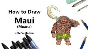 how to draw and color maui from moana with promarkers speed