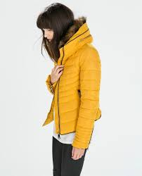 zara mustard yellow quilted padded winter jacket fur collar size l