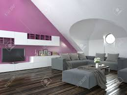modern loft living room interior with a sloping ceiling and purple