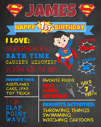birthday signing board birthday chalkboard superman poster boy 1st