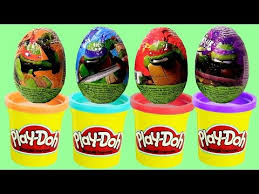 play doh tmnt learn colors surprise eggs teenage mutant ninja