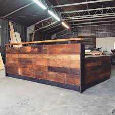 Reception Desk Wood Reclaimed Wood Steel Reception Desk 10