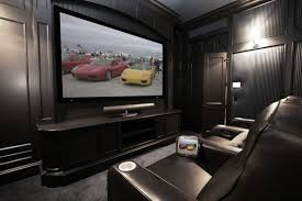 Home Movie Theater Decor Ideas by Modern Small Home Theater Room Design With Dark Black Furniture