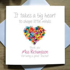 thank you cards for teachers personalised handmade heart thank you card mr mrs miss